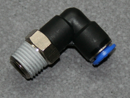 Winkel-Einschraubverschraubung Winkel 90° 1/4  6mm Schlauch.