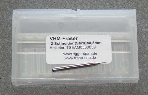 VHM-Fräser 2-Schneider (Stirn) Ø 0.50mm