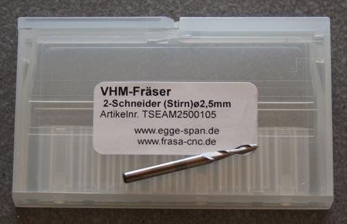 VHM-Fräser 2-Schneider (Stirn) Ø 2.50mm
