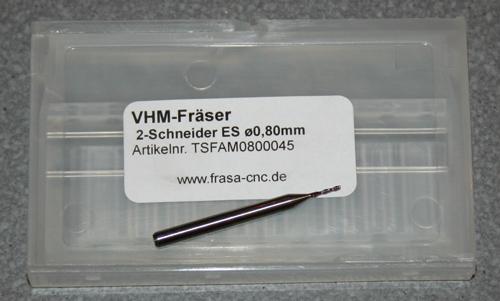 VHM-Fräser 2-Schneider ES  Ø 0.80mm