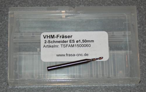 VHM-Fräser 2-Schneider ES  Ø  1.50mm