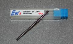 VHM-Fräser Ø 3.00mm, K-2, extra lang 60mm