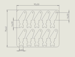 10 Ruderhörner 16 mm aus 1 mm CFK