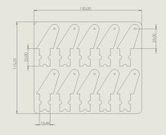10 Ruderhörner 25 mm aus 1 mm CFK