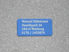Modellschild mit Adressgravur 30 x 15 x 0,5 mm