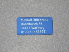 Modellschild mit Adressgravur 40 x 20 x 0,5 mm