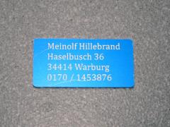 Modellschild mit Adressgravur 50 x 25 x 0,5 mm