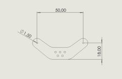 Seitenruderanlenkung 50 mm 1,00 mm CFK