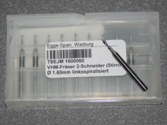 VHM-Fräser 2-Schneider (Stirn)  Ø 1.60mm linksspiralisiert